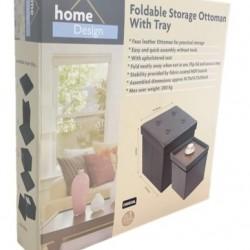 Single Foldable Storage Ottoman - Faux Leather
